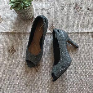 Clark's artisan black polka dot peep toe size 8